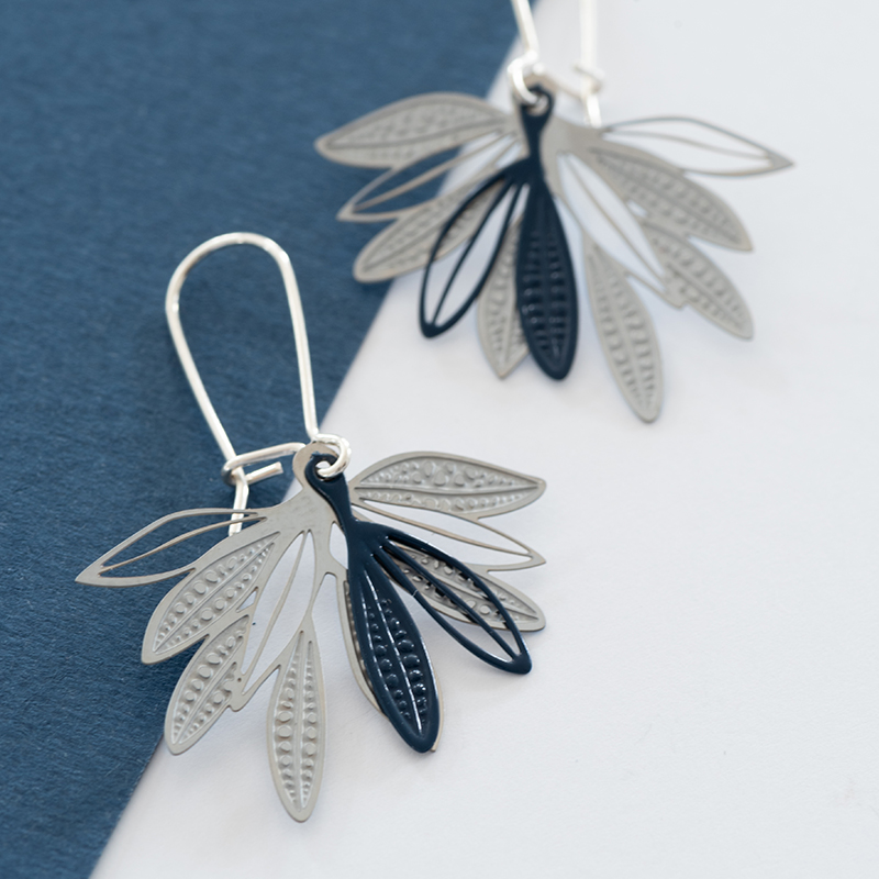Fanned leaf earrings