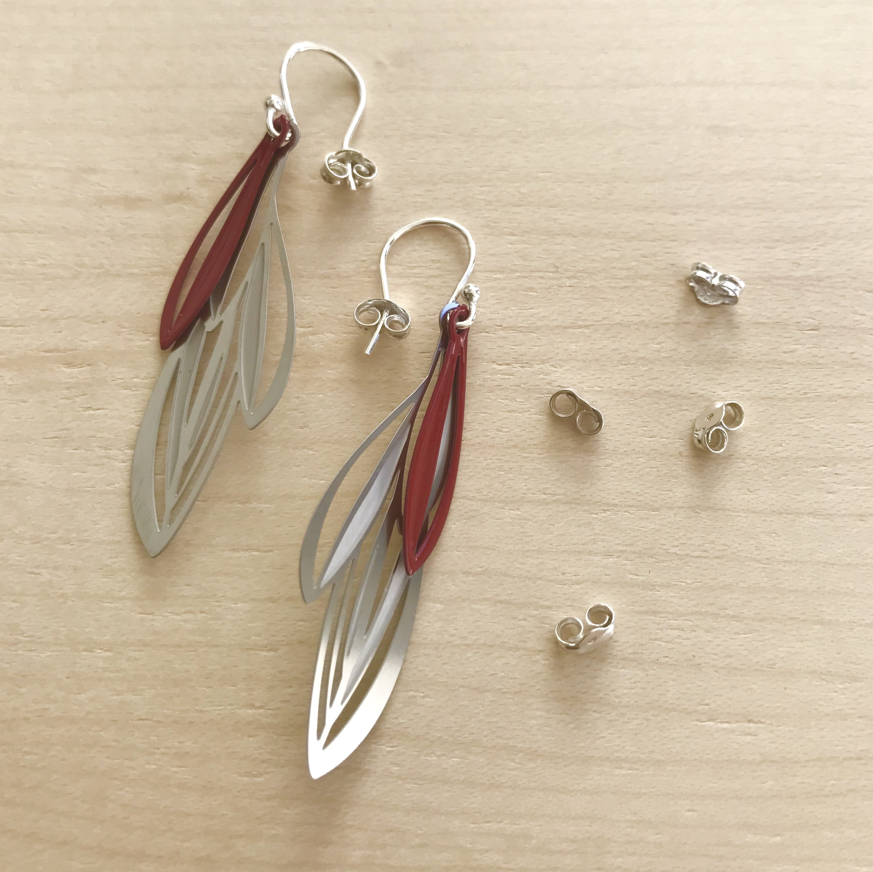 Double leaf drop earrings 2