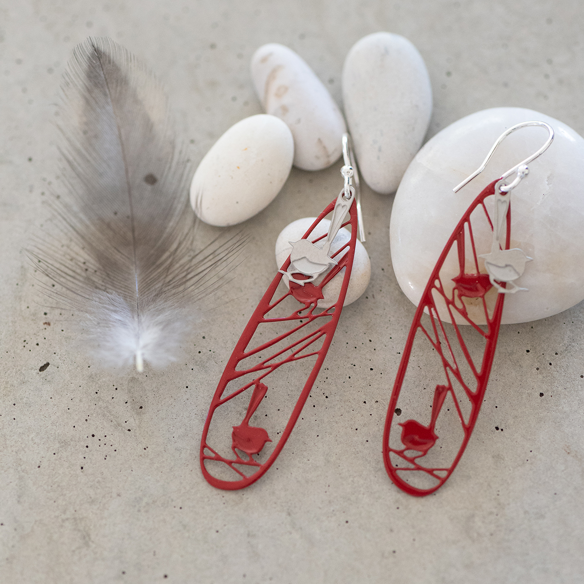 Popular wren earrings from the Fragile Flight collection available at Perth Upmarket